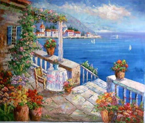 Summer Resort Painting, Canvas Painting, Landscape Painting, Wall Art, Large Painting, Living Room Wall Art, Oil Painting, Canvas Wall Painting, Spain Summer Resort - HomePaintingDecor.com