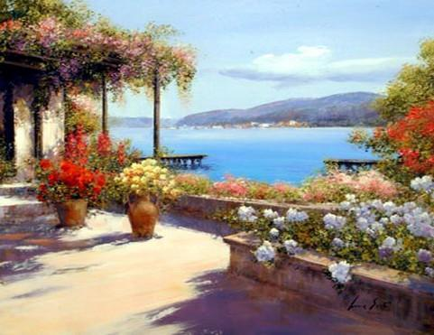 Landscape Painting, Wall Art, Large Painting, Mediterranean Sea Painting, Canvas Painting, Kitchen Wall Art, Oil Painting, Canvas Art, Seascape, France Summer Resort - HomePaintingDecor.com