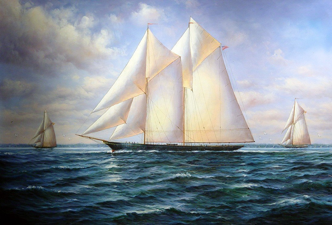 Seascape Painting, Canvas Art, Oil Painting, Canvas Painting, Wall Art, Large Painting, Bedroom Wall Art, Canvas Oil Painting, Canvas Art, Sailing Boat at Sea - HomePaintingDecor.com
