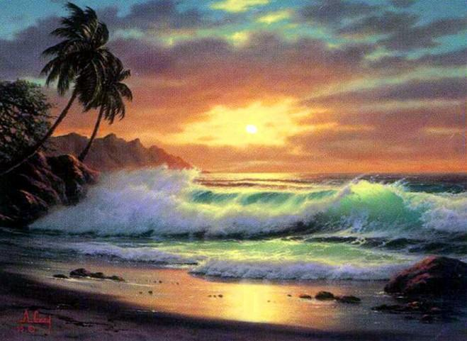 Palm Tree, Hawaii Beach, Seashore Painting, Sunrise Painting, Canvas Art, Canvas Painting, Seascape Painting, Wall Art, Large Painting, Canvas Oil Painting, Canvas Art - HomePaintingDecor.com