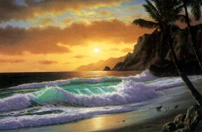 Seashore Painting, Seascape Art, Palm Tree, Sunrise Painting, Hawaii Beach, Large Oil Painting, Hand Painted Oil Painting - HomePaintingDecor.com