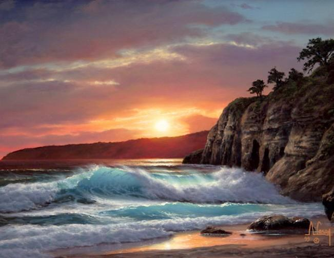 Sunrise Painting, Seashore Painting, Seascape Art, Pacific Ocean, Big Wave, Canvas Painting, Large Oil Painting, Canvas Painting for Living Room - HomePaintingDecor.com
