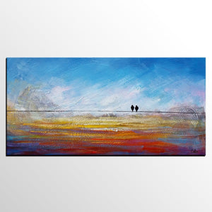 Modern Art, Abstract Art, Contemporary Wall Art, Love Birds Painting, Painting for Sale, Abstract Art Painting, Canvas Art - HomePaintingDecor.com