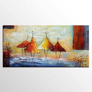 Heavy Texture Wall Art, Paintings for Sale, Ballet Dancer Art, Bedroom Wall Art, Hand Painted Canvas Art, Contemporary Art - HomePaintingDecor.com