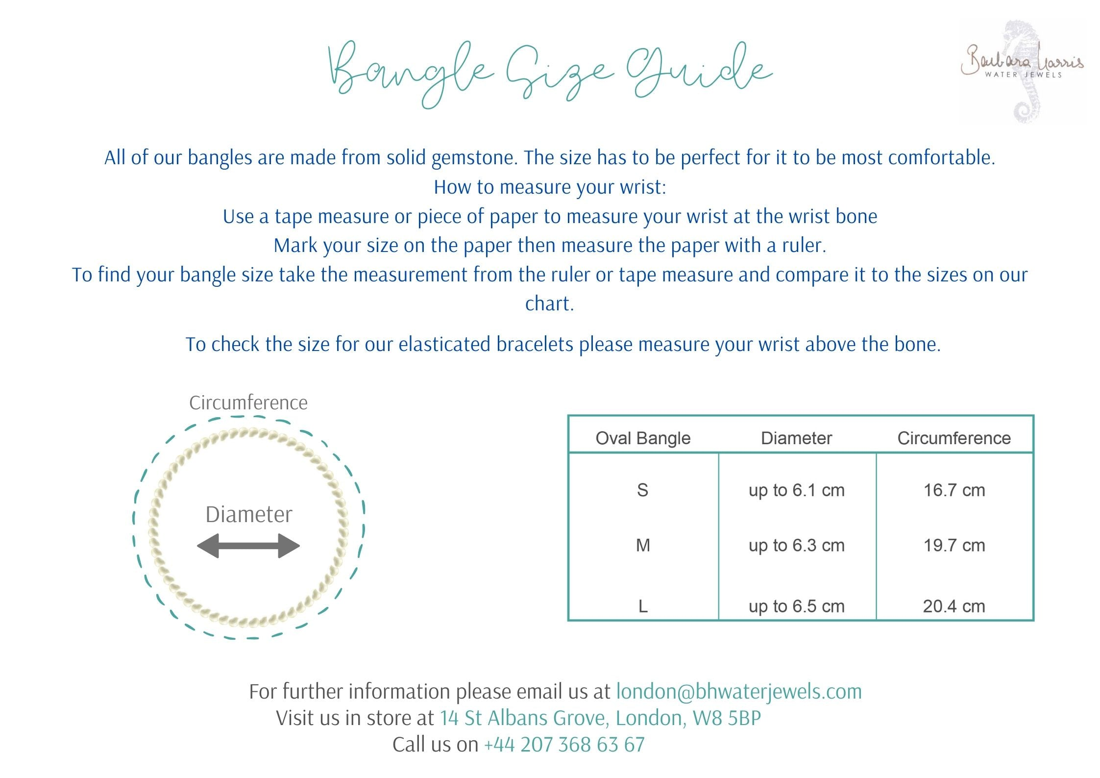 Bangle Bracelet size guide