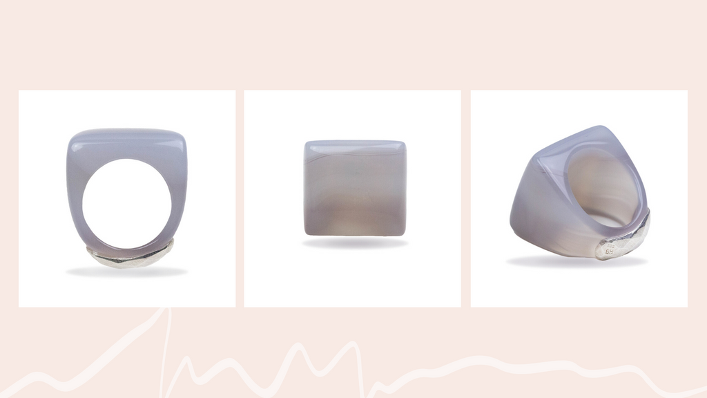 Chalcedony Square Cushion Ring