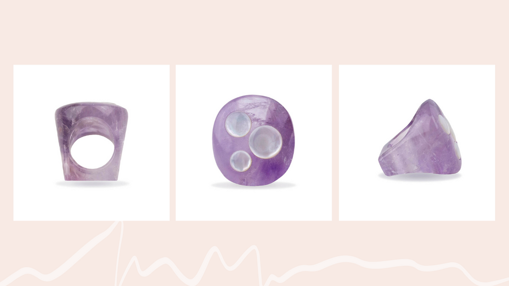 Amethyst & Mother of Pearl Orb Ring