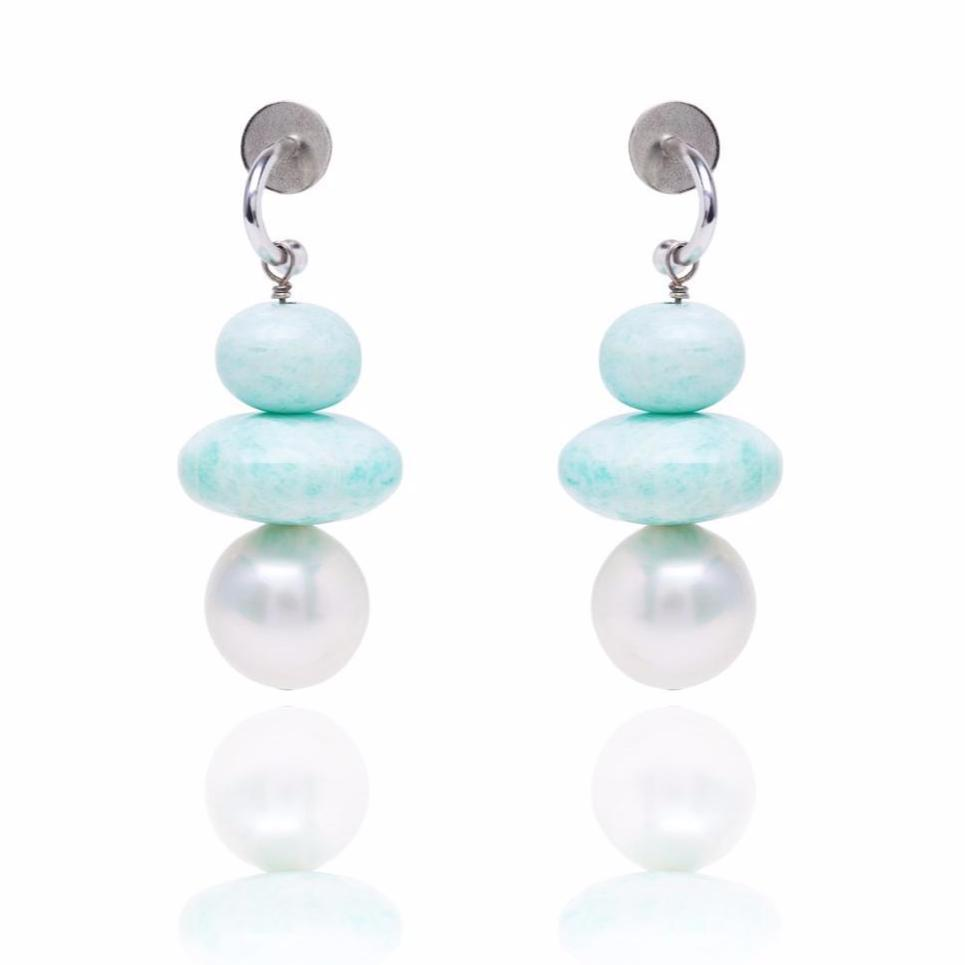 Amazonite and Pearl Pebble Earring