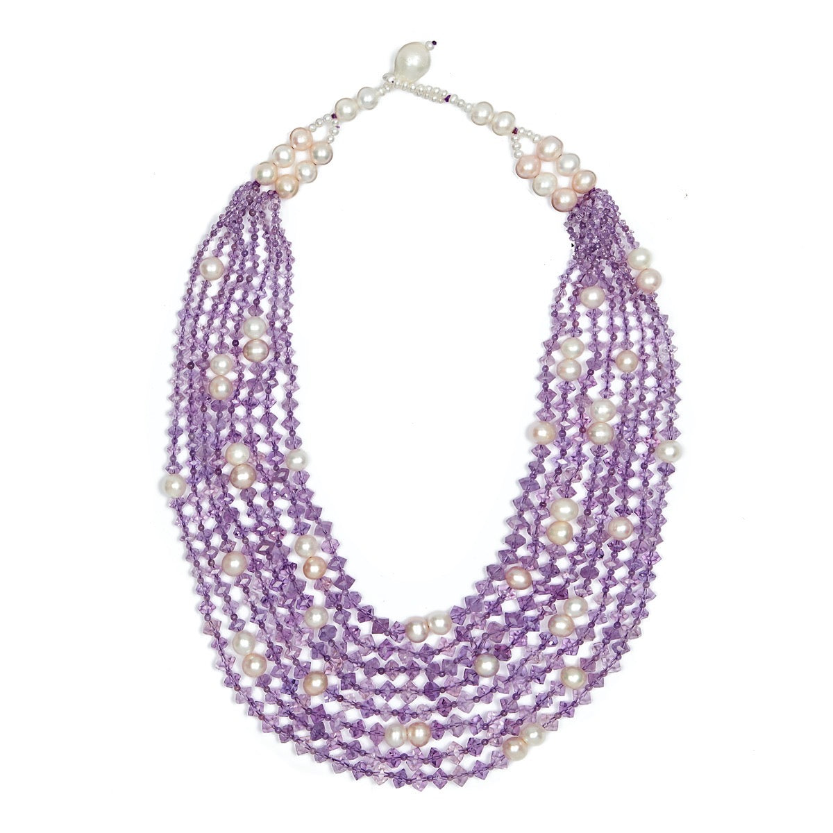 8 Strand Amethyst Pearl Grace Necklace