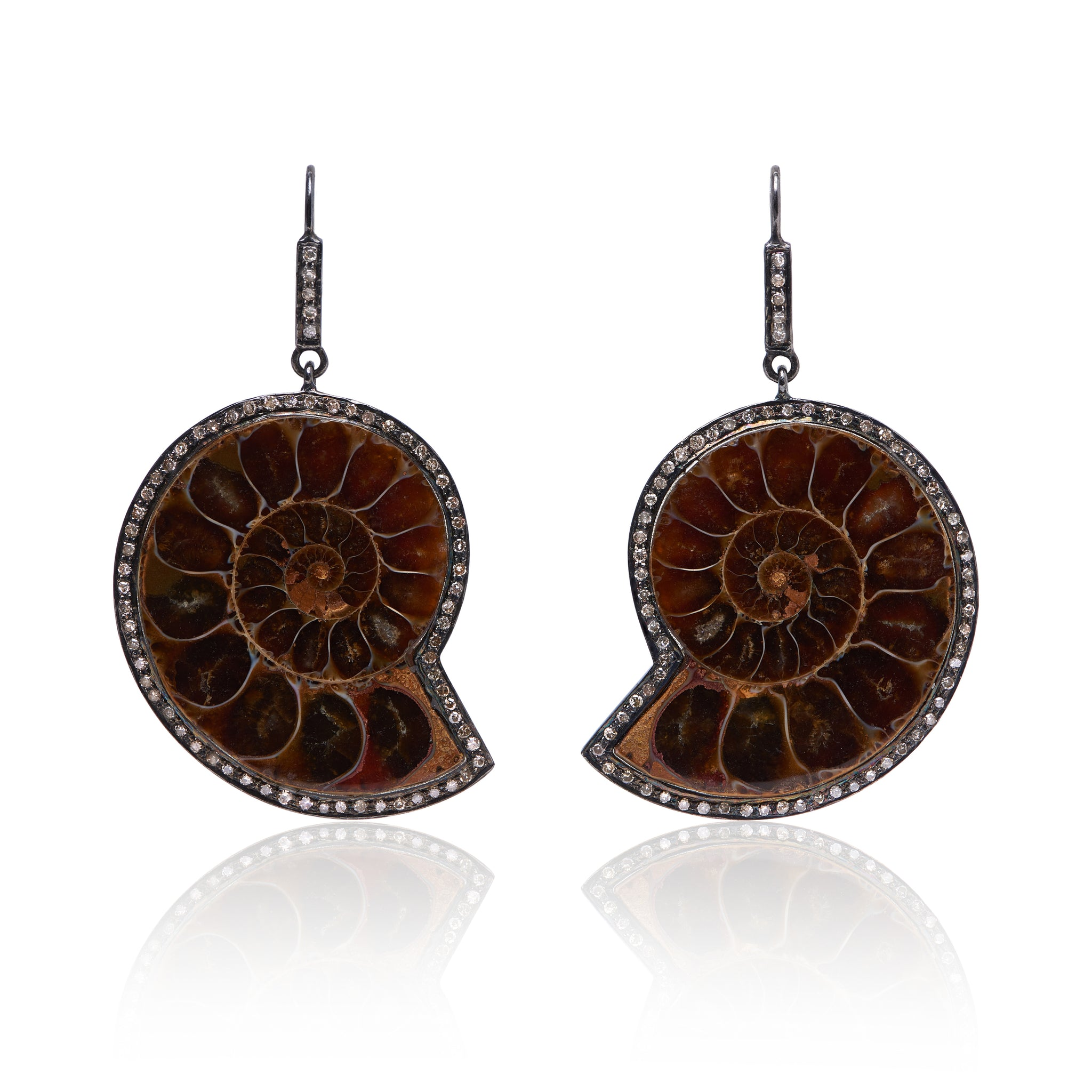 Ammonite Fossil Earrings with Diamonds made in sterling silver