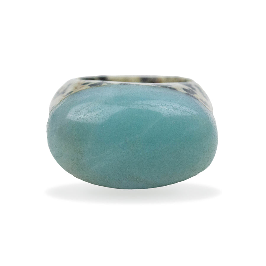 Dalmatian Jasper and Amazonite Cushion Ring