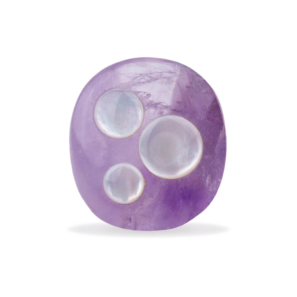 Amethyst and Mother of Pearl Orb Ring