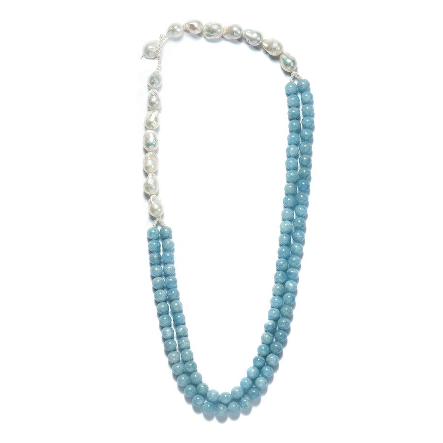 Seaspray Aquamarine and Baroque Pearl  Necklace