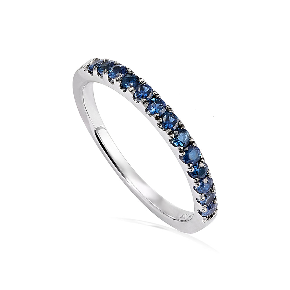 Half Whisper Stacking Ring - Blue Sapphire