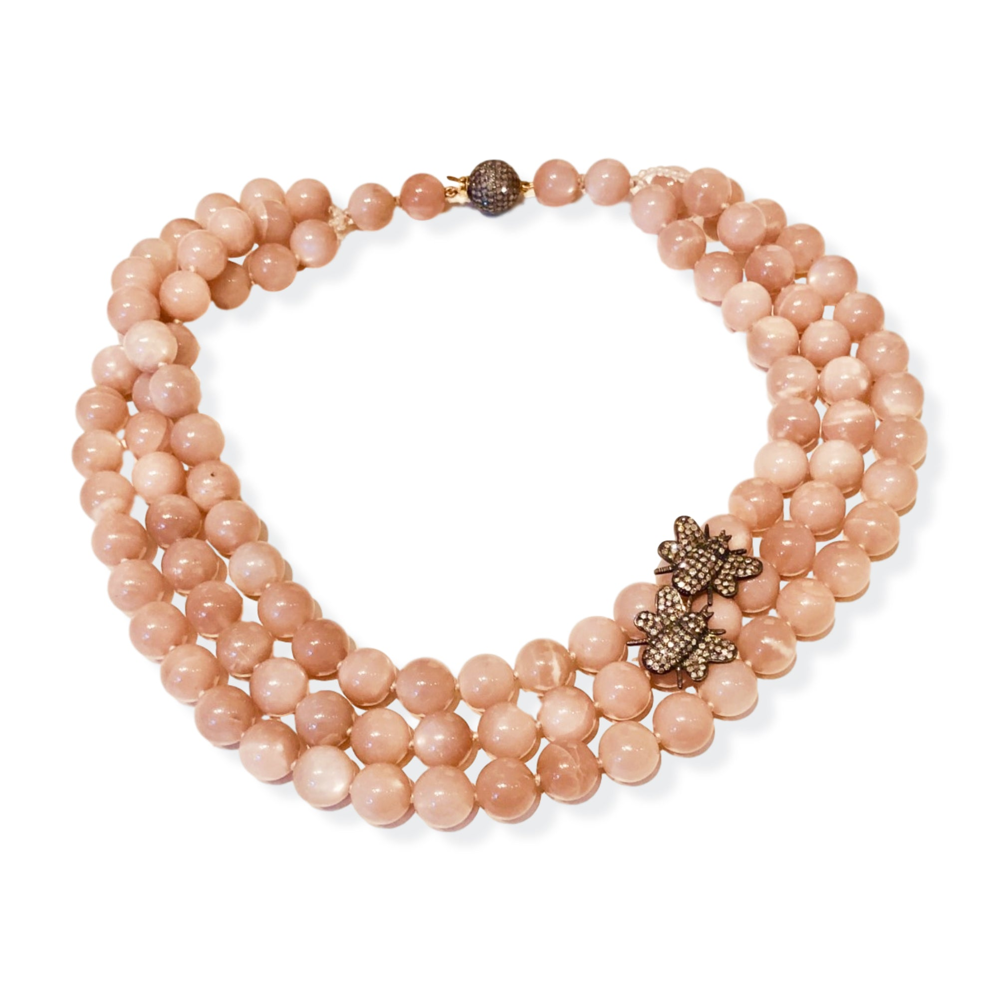 Desert Rose Grace Moonstone necklace with Diamond Bees