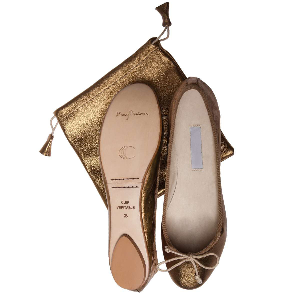 Ballet Pumps in Metallic Bronze with Carry Bag