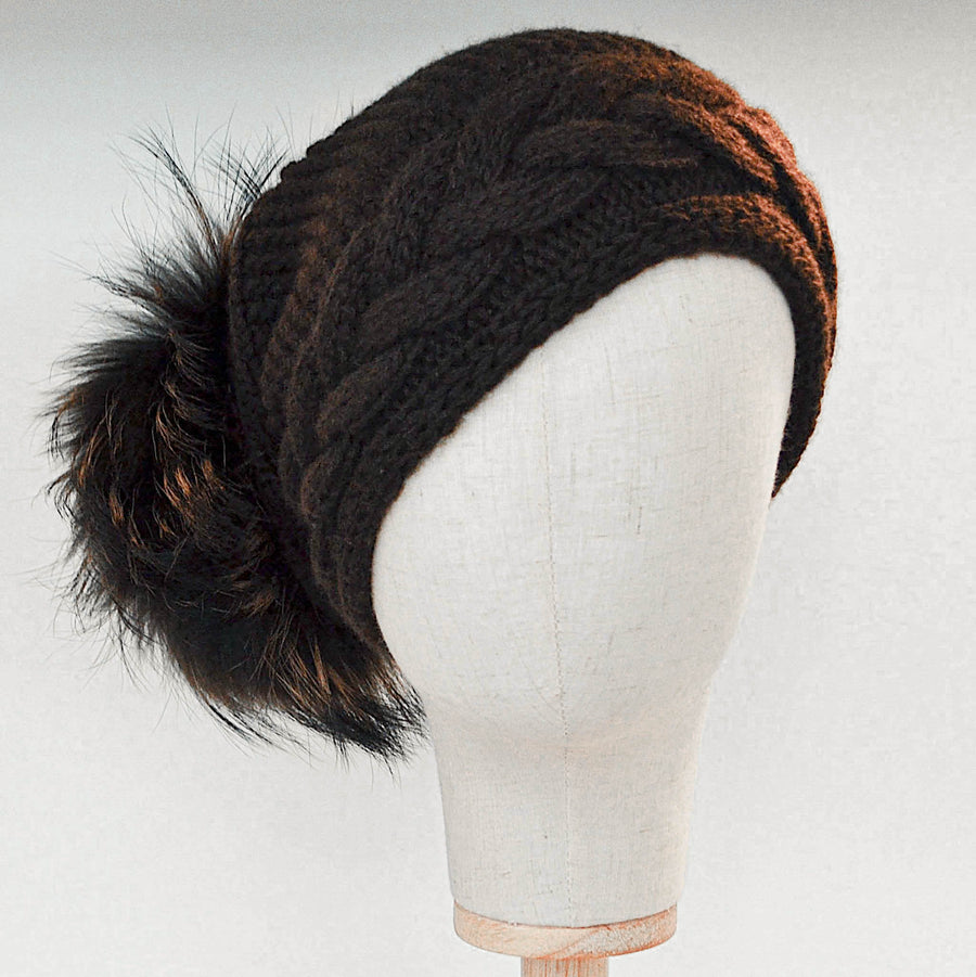 Inverni Coffee Cashmere Hat with Racoon Fur