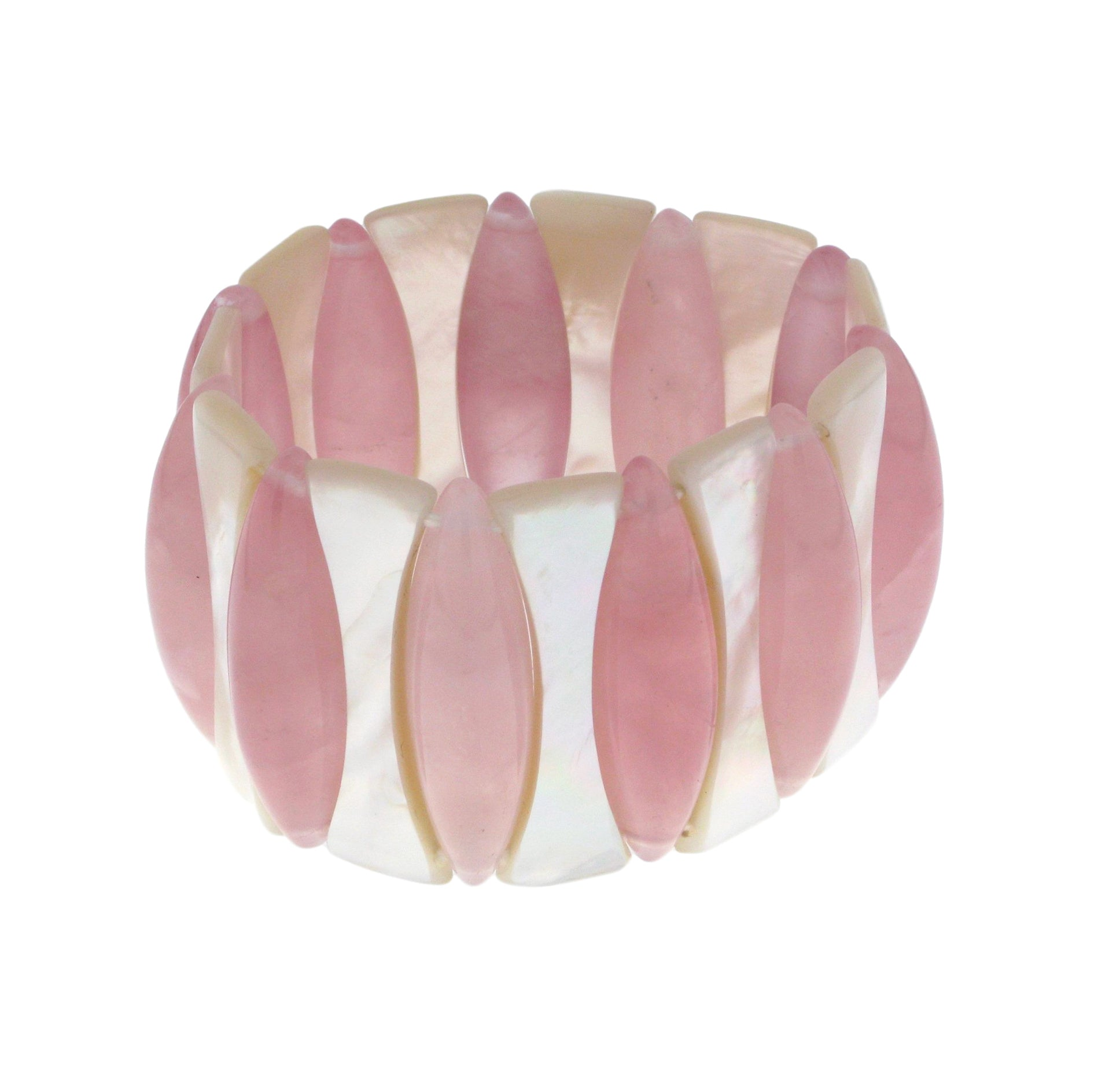 Mother of Pearl Rose Quartz Elasticated Bracelet