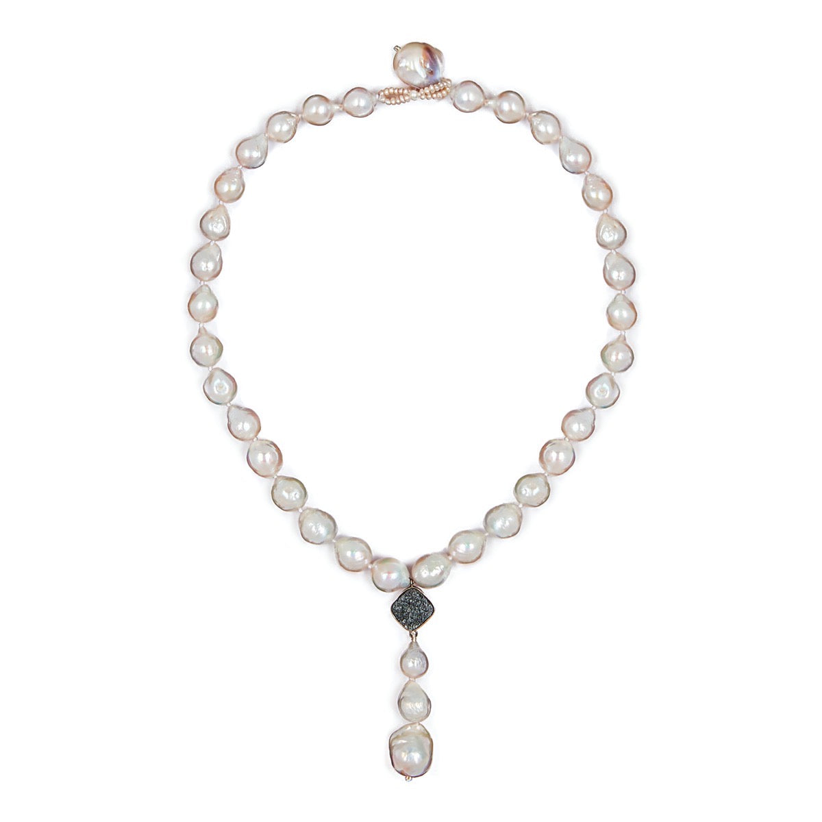 Single Strand Pearl Druzy Drop Necklace