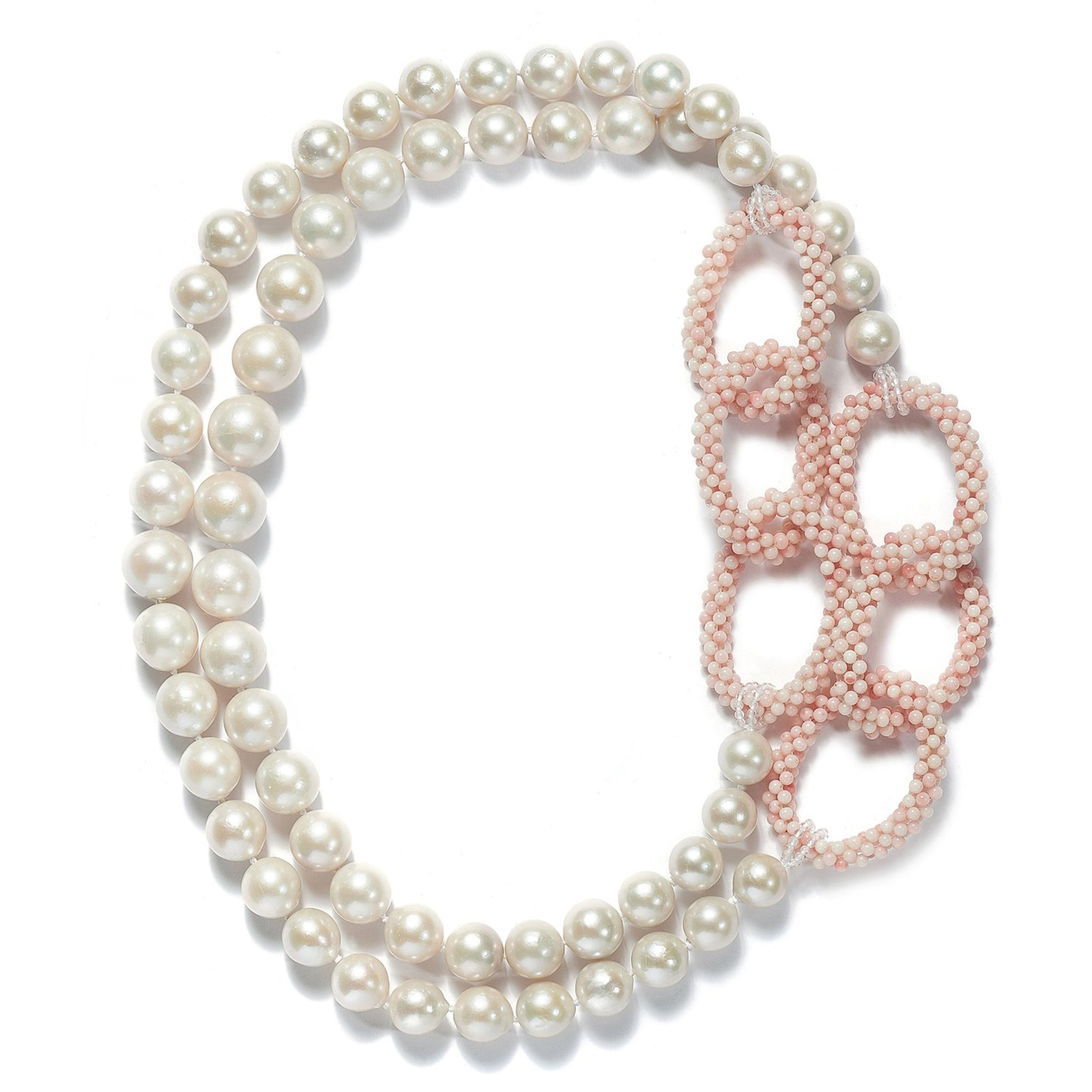 Long Pearl and Coral link Necklace