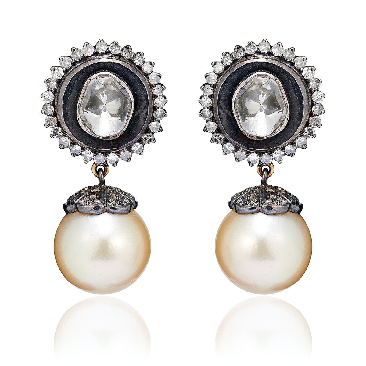 Antique Star Pearl and Diamond Earrings