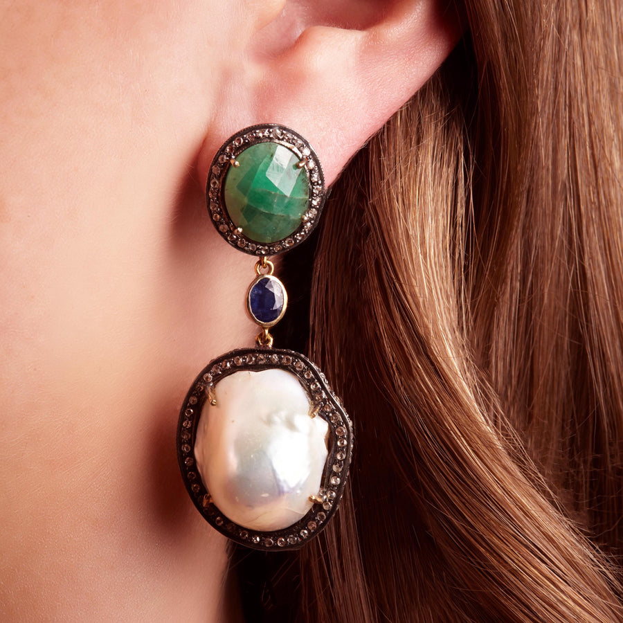 Emerald Sapphire and Baroque Pearl Triple Earring with Diamonds made in 14k yellow gold