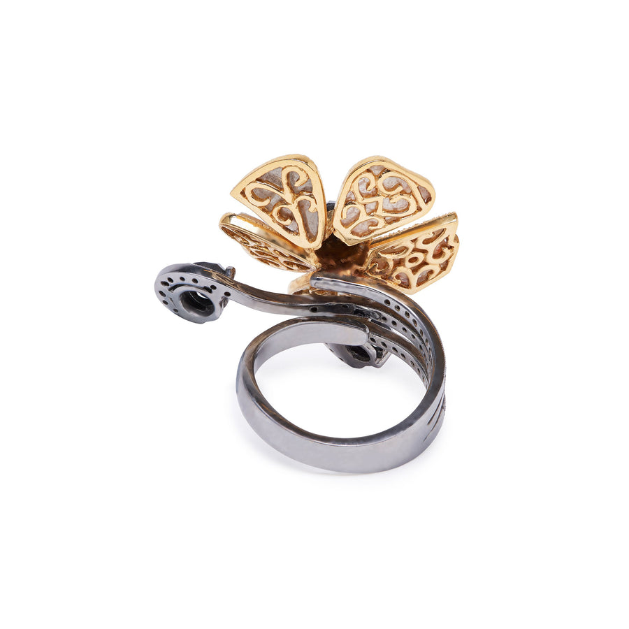 Champagne & Black Diamond Petal Ring
