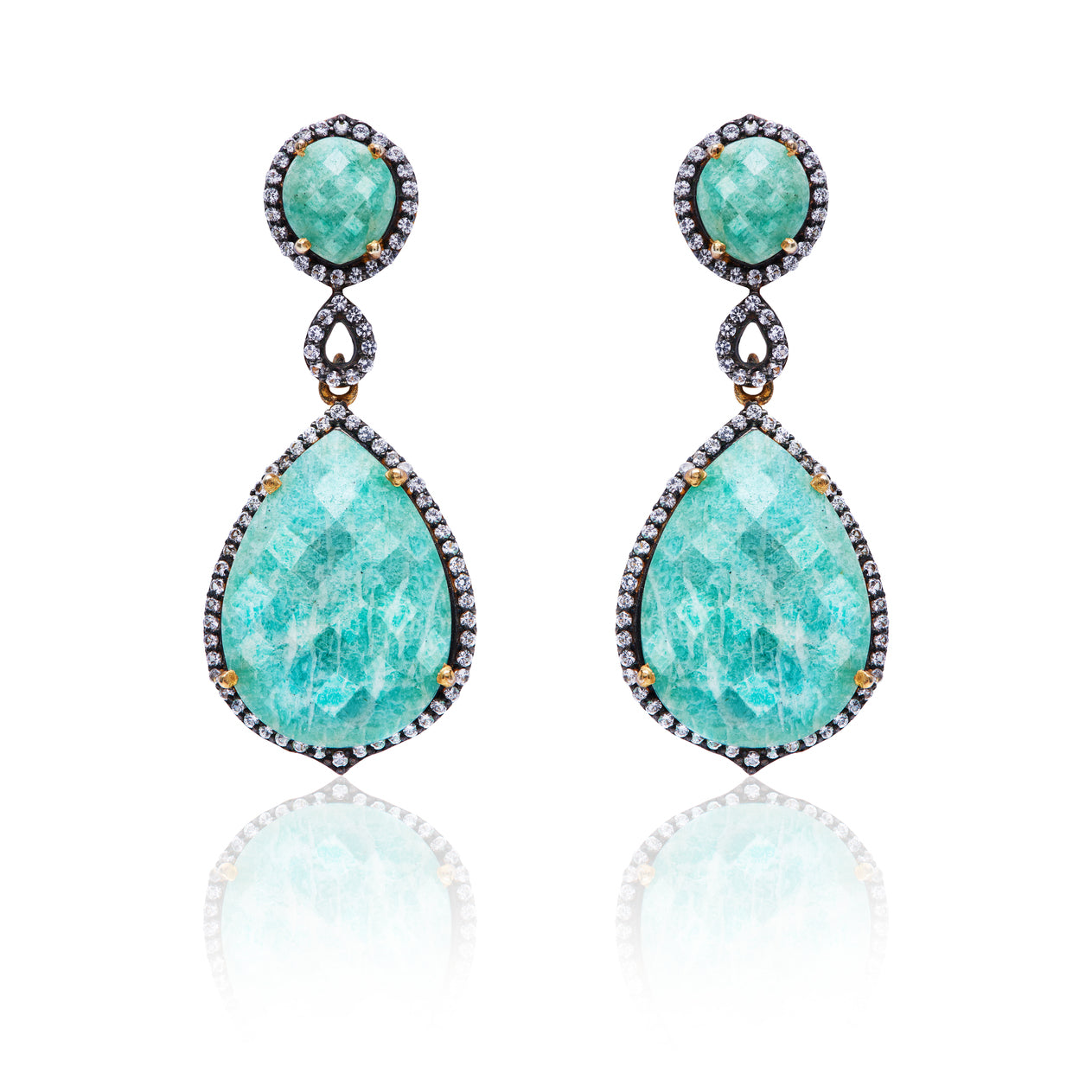Faceted Amazonite White Topaz Statement Earrings
