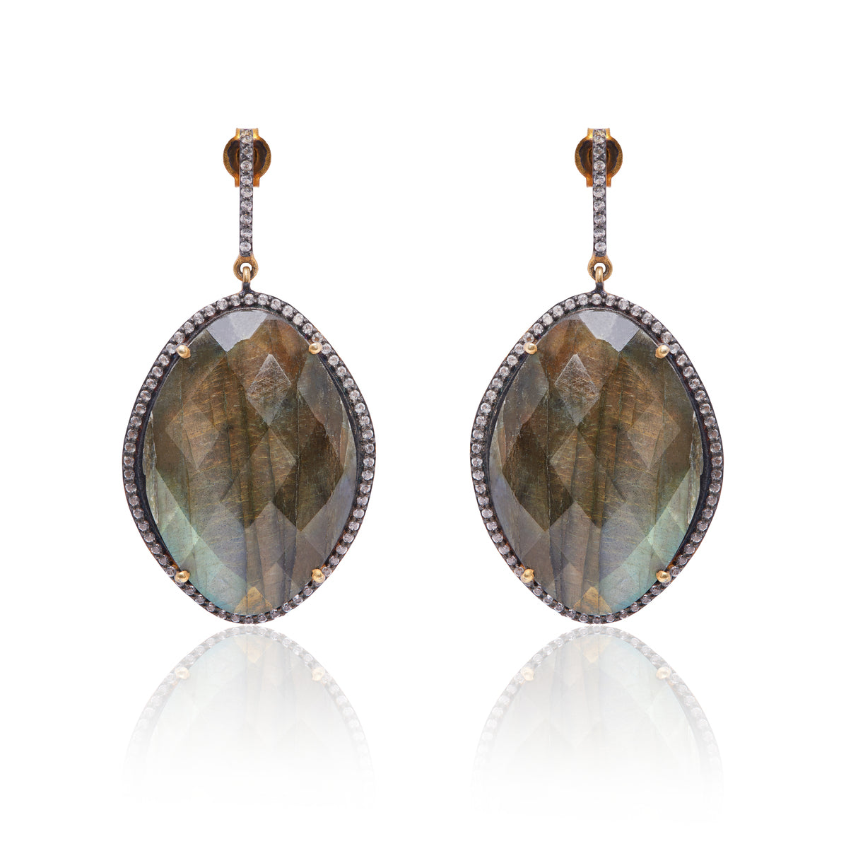 Faceted Labradorite Earring with White Topaz made in sterling silver