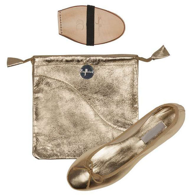 Ballet Pumps in Metallic Gold with Carry Bag
