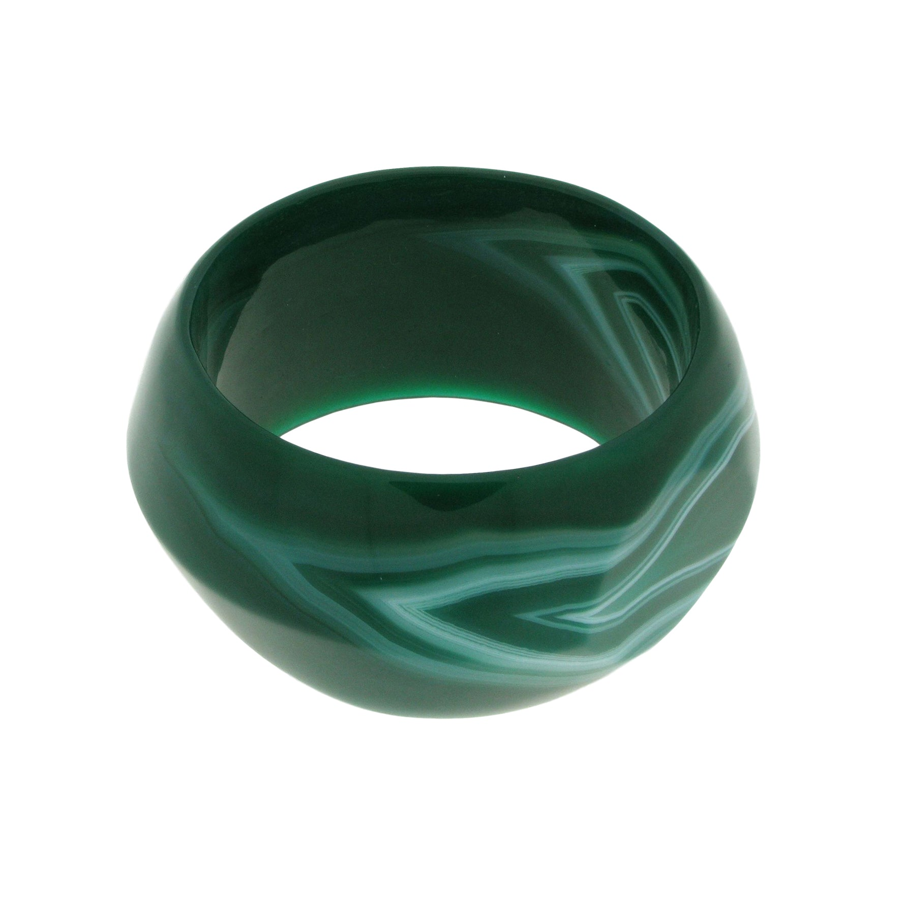 Solid Green Agate Bangle