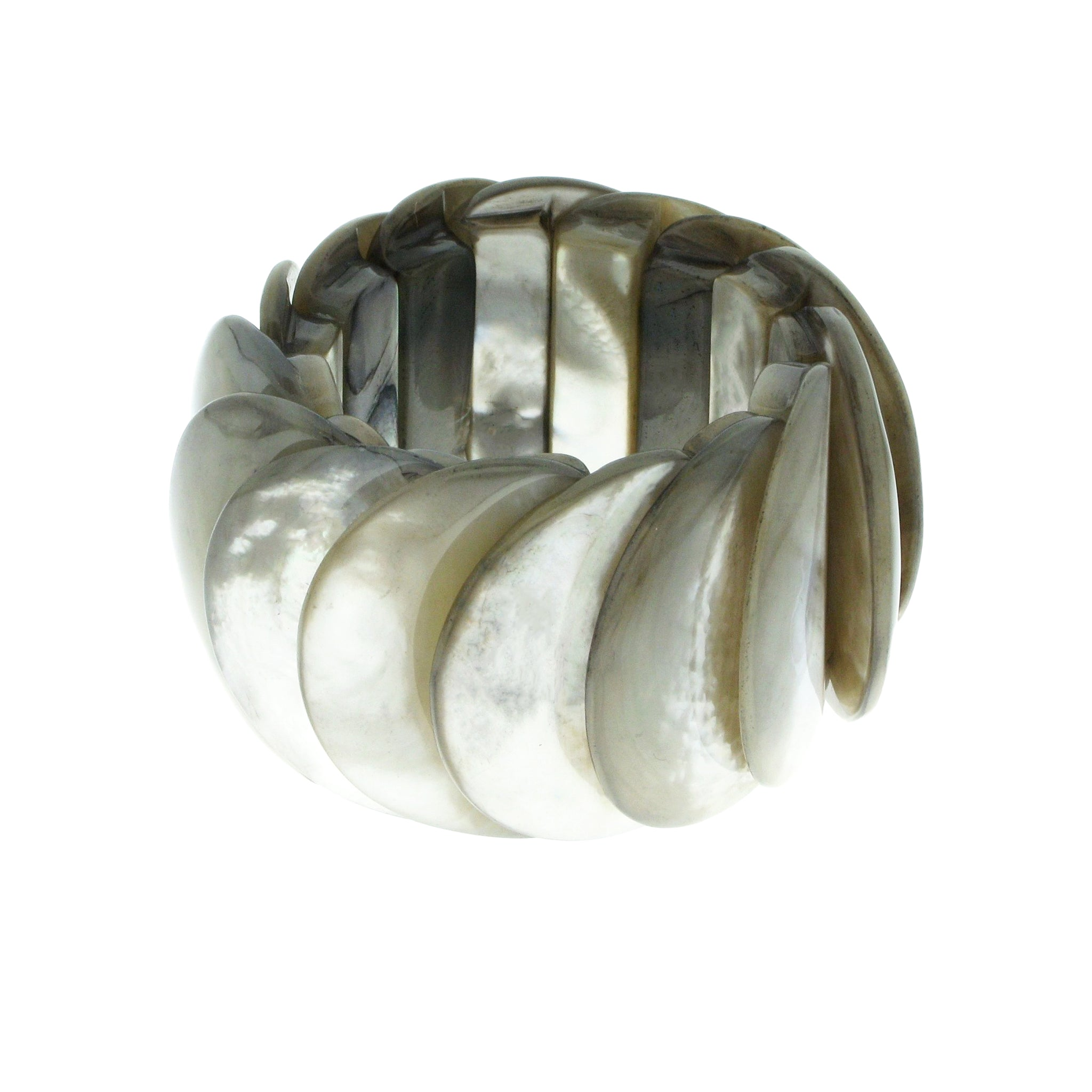 Silver Mother of Pearl Overlapping Elasticated Bracelet