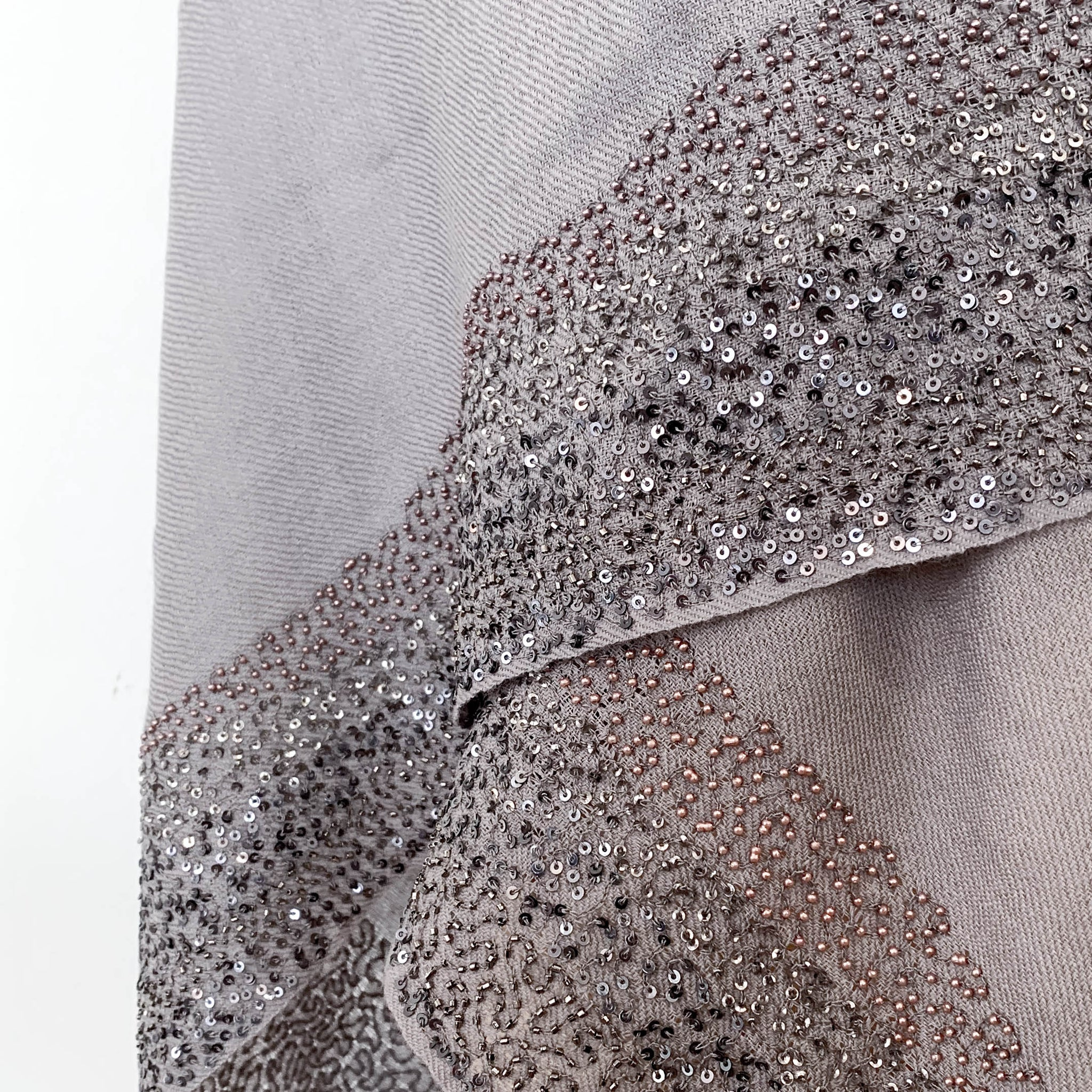 Twilight Grey Beaded Shawl