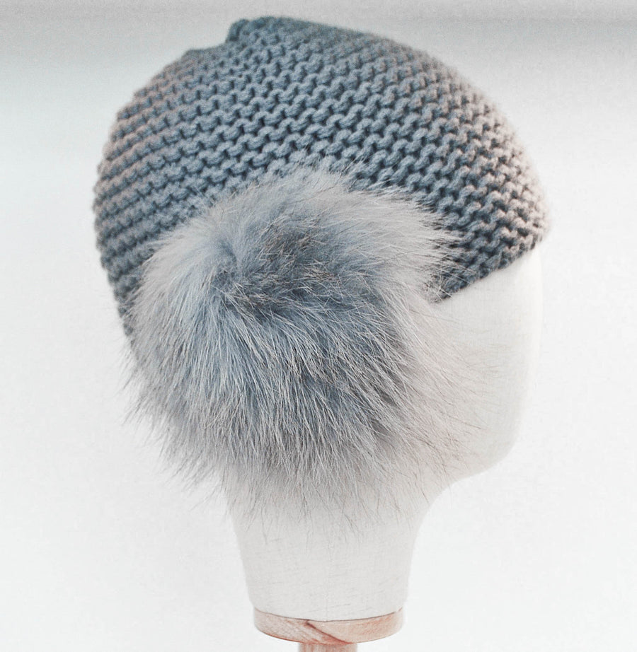 Inverni Light Grey Cashmere Hat with Arctic Fox Fur