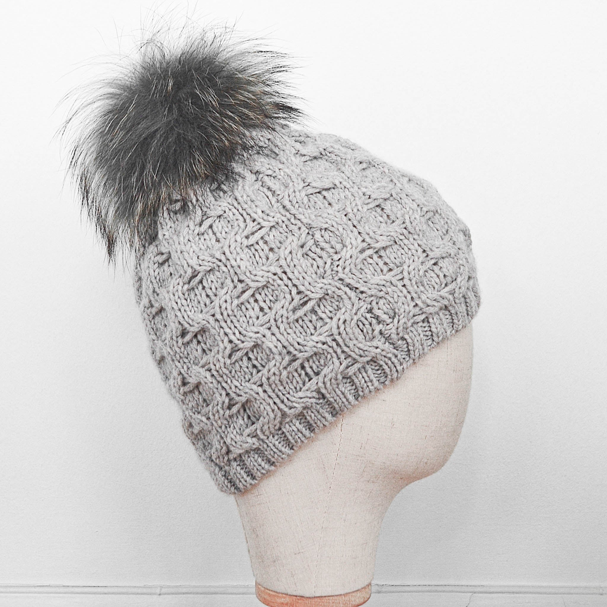 Inverni Pearl Grey Cashmere Hat with Silver Fox Fur Pom-Pom