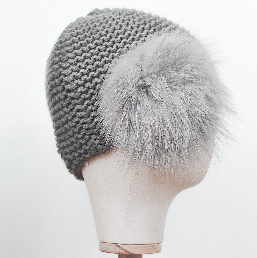 Inverni True Grey Cashmere with Fur Side Pom-Pom
