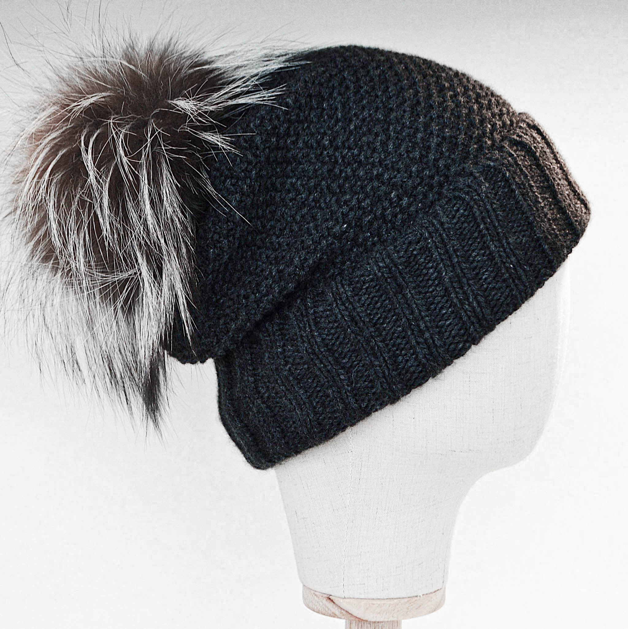Inverni Argentata Cashmere Hat with Fox Fur