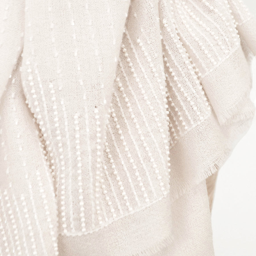 Ivory Silk & Cashmere Shawl with Tonal Beaded Embroidery