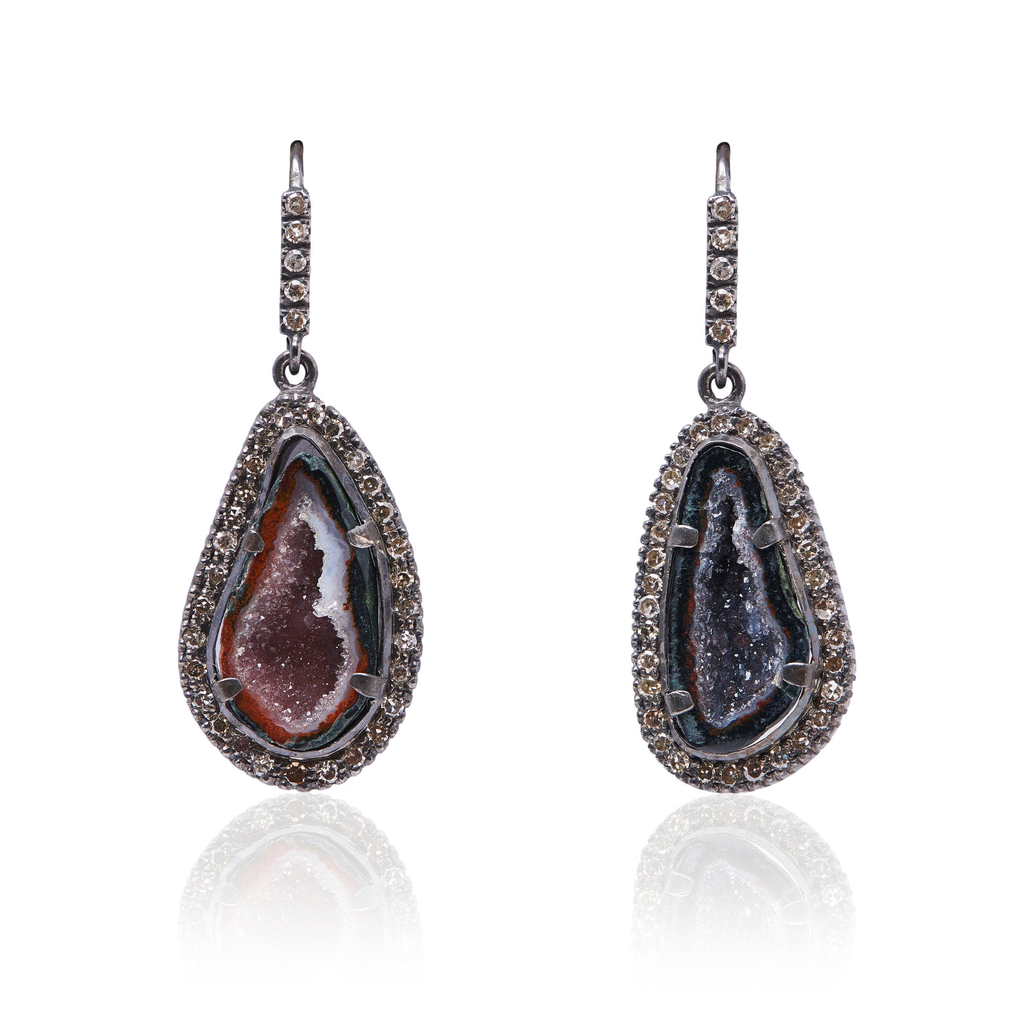 jasper druzy earrings with diamonds made in sterling silver