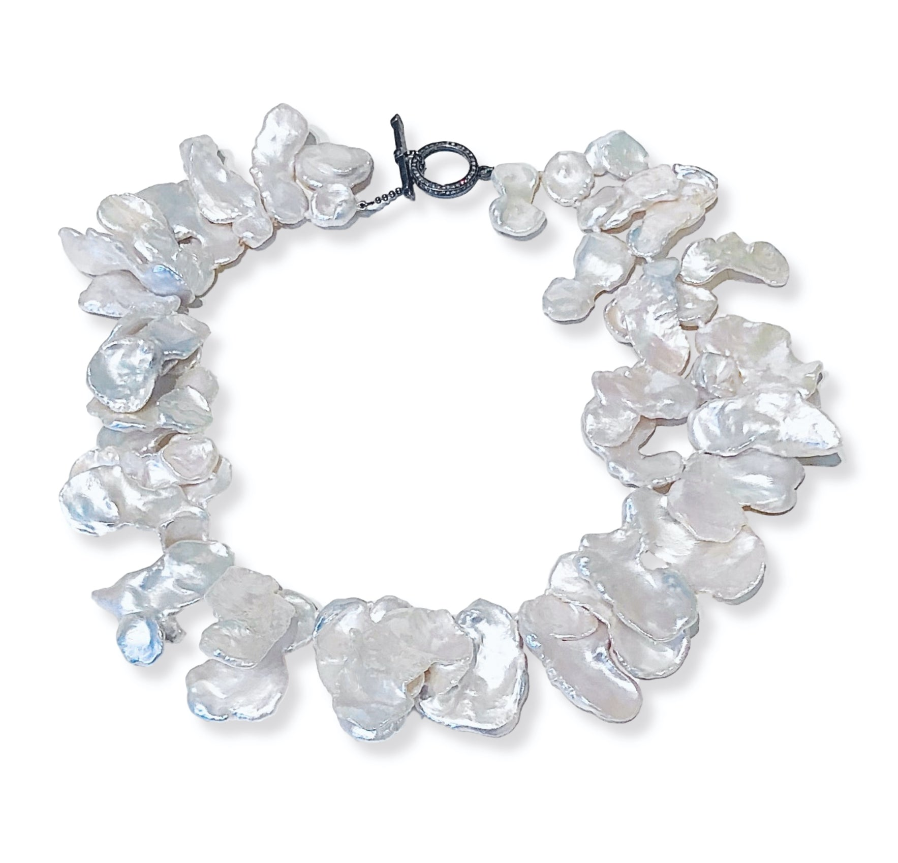 Keshi Pearl Necklace with Diamond Clasp