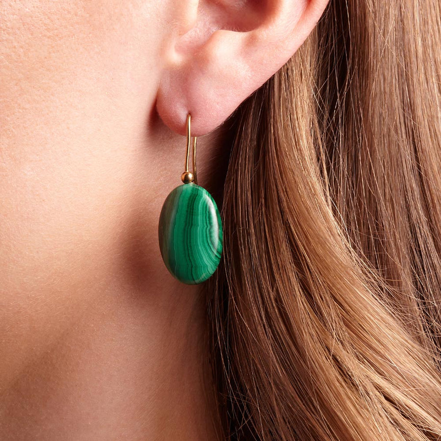 Malachite Pebble Earrings