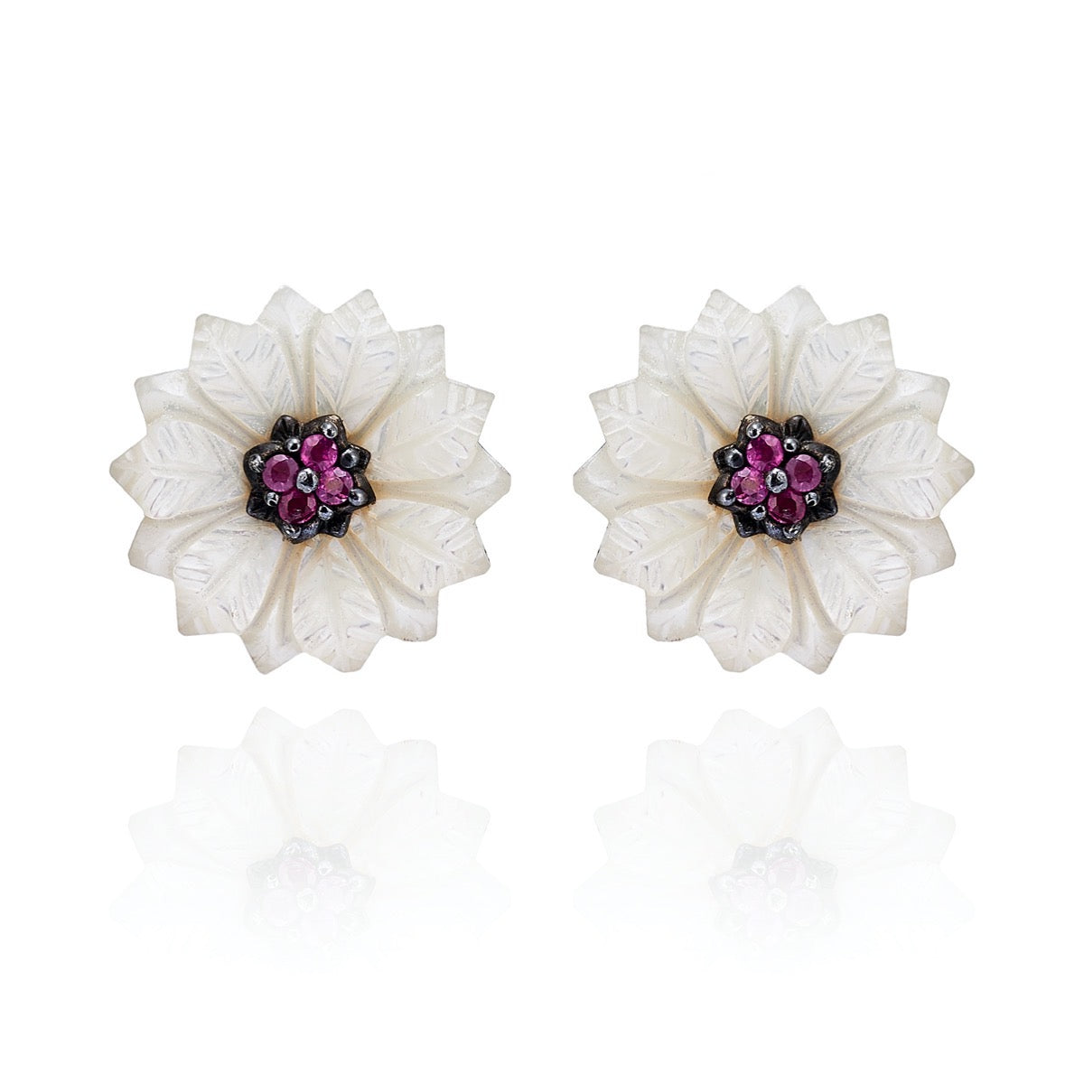 Hand Carved Mother of Pearl Ruby Flower Stud Earring