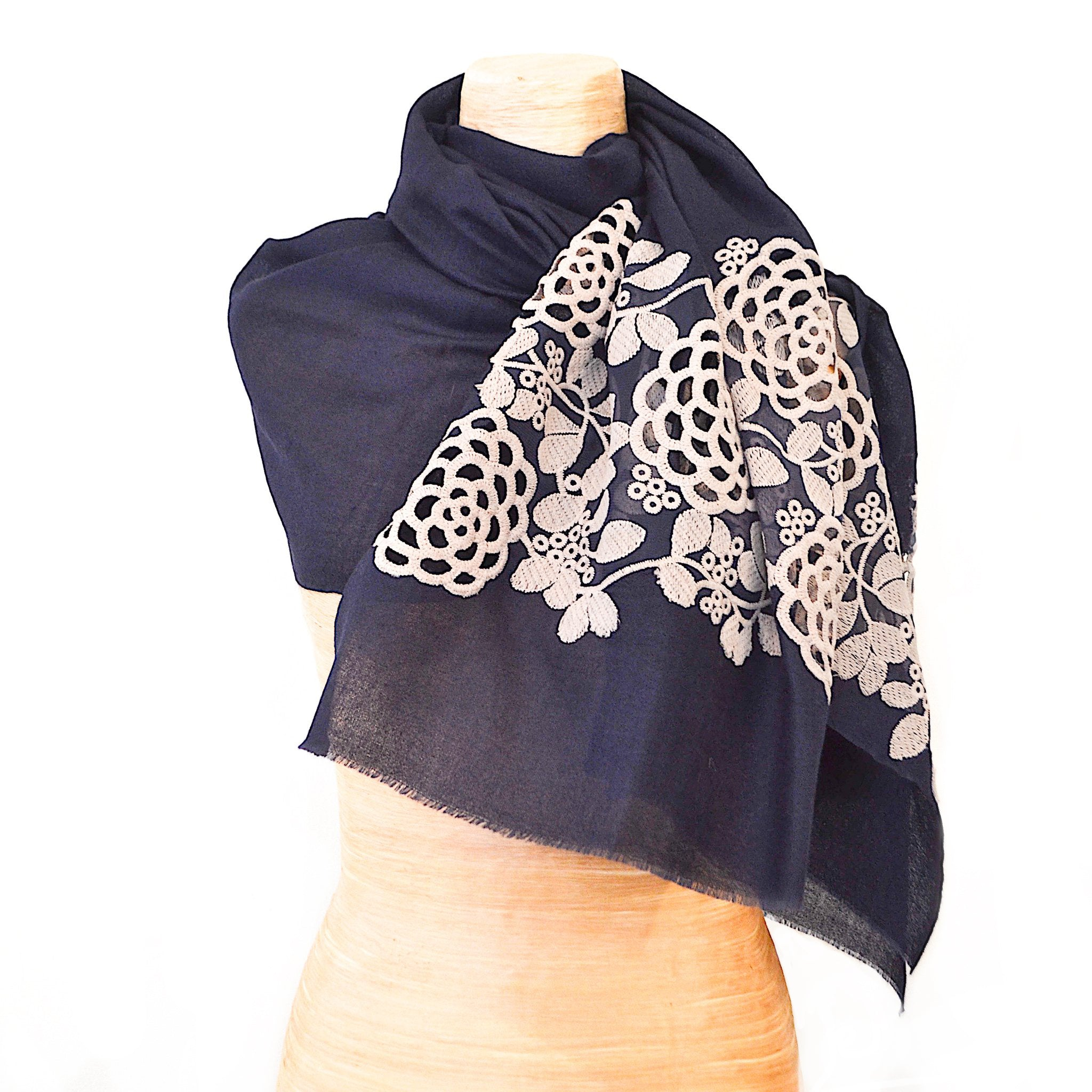 Classic Blue Silk Cashmere Shawl with Pale Grey Decoupage