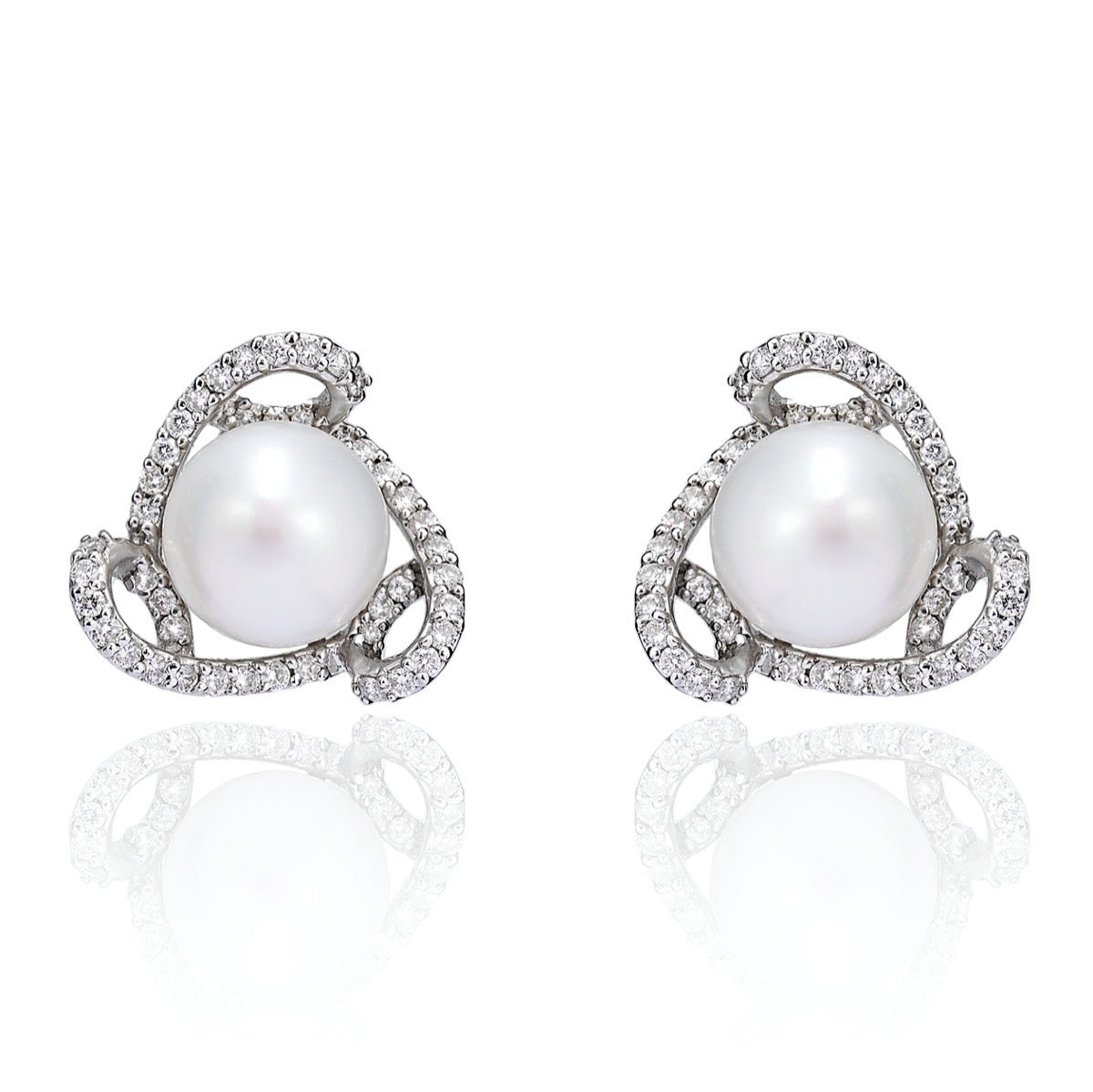 Pearl Stud Earrings with Diamond Swirl