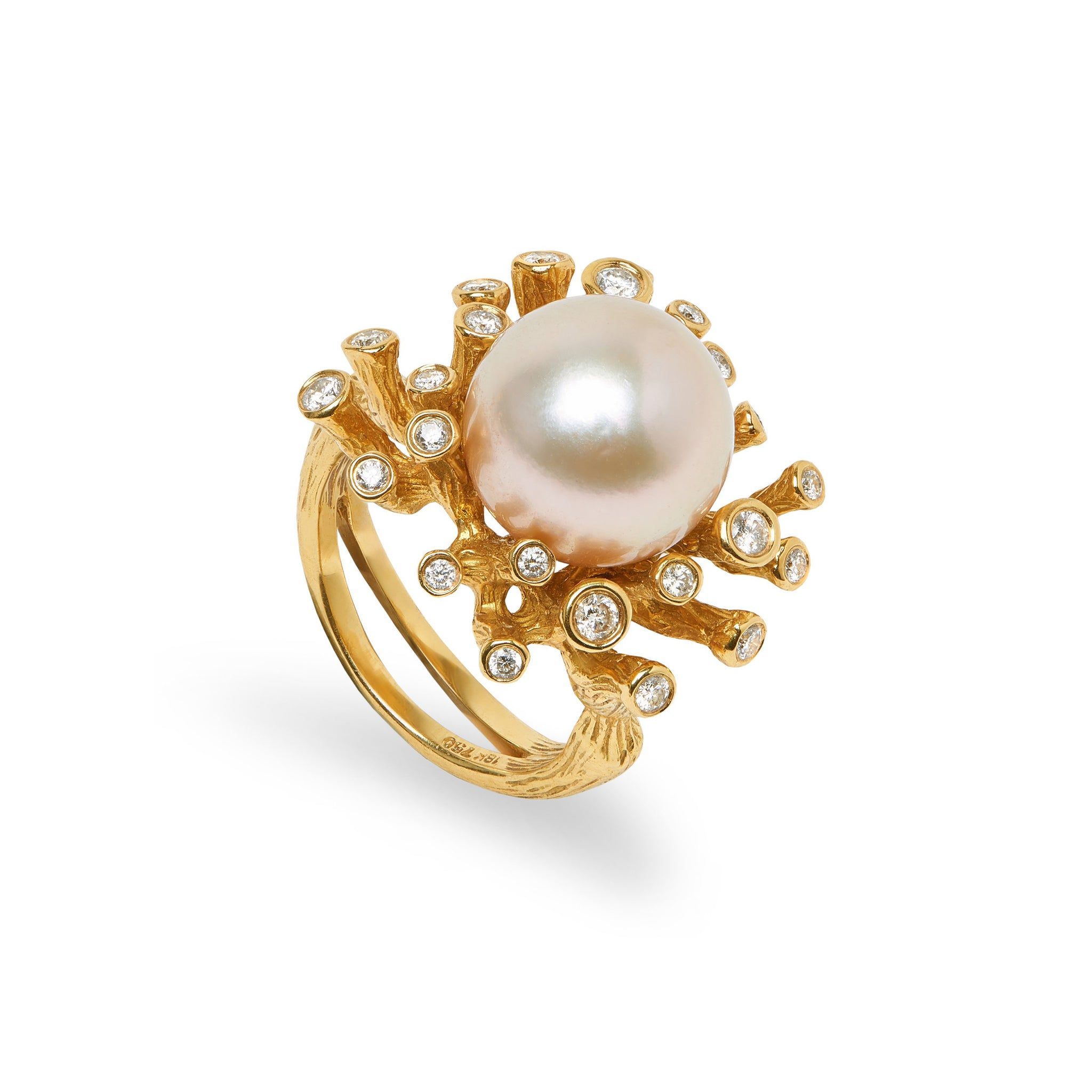 Coral Reef South Sea Pearl & Diamond Ring