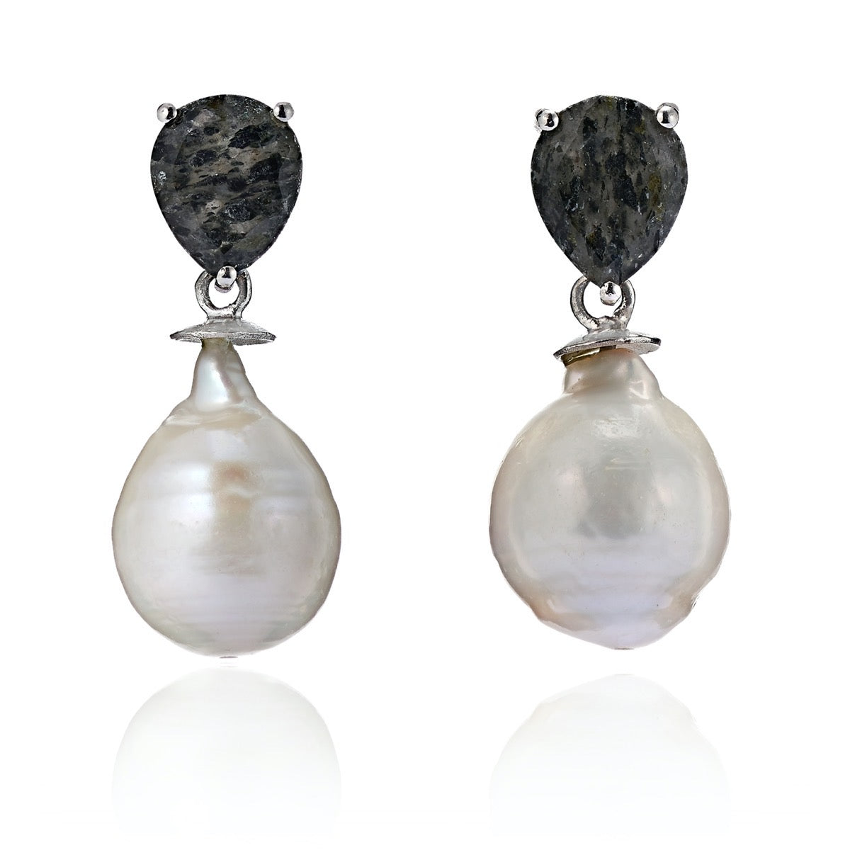 Tourmalinated Quartz Gem-Set Pearl Drop Earring