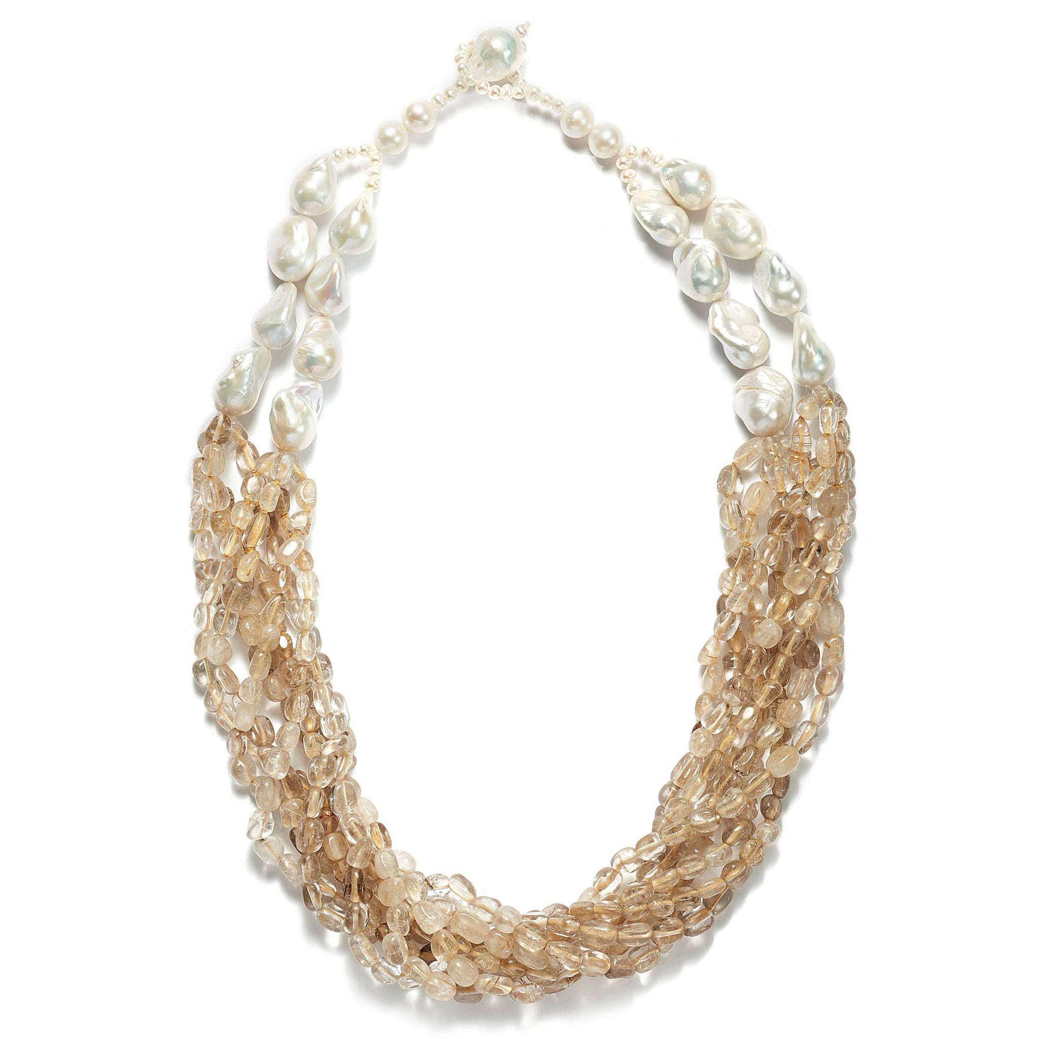 Rutilated Gold Quartz  Seaspray Necklace