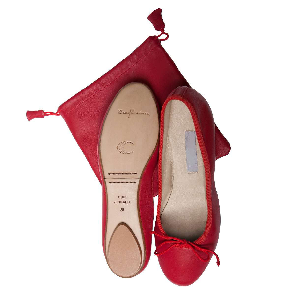 Ballet Pumps Red with Carry Bag