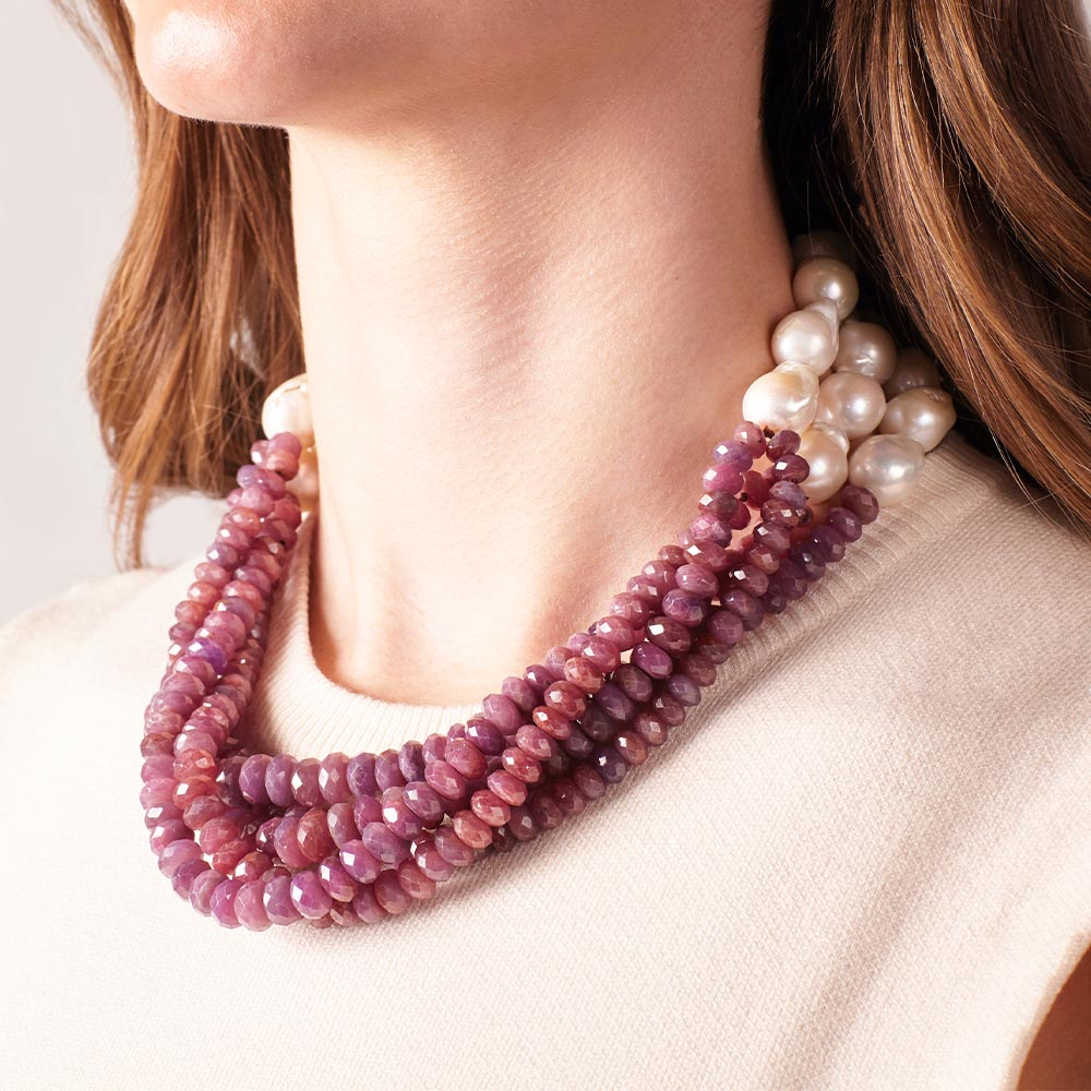 Seaspray Ruby Twist  with Baroque Pearls Necklace