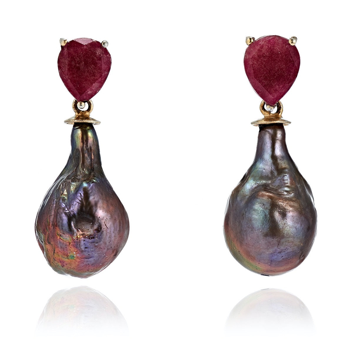 Ruby Gem-Set Peacock Pearl Drop Earrings